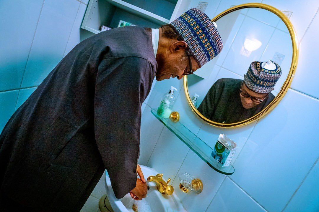 Coronavirus:  Presidency releases photos of President Buhari washing his hands