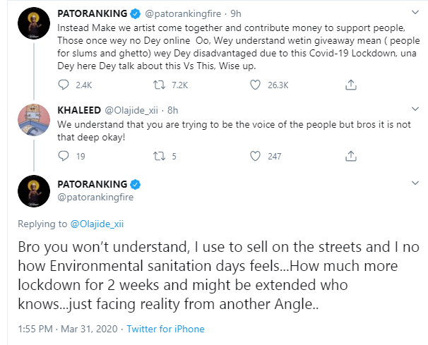Coronavirus: We should be helping people offline - Patoranking tackles his colleagues doing giveaways online