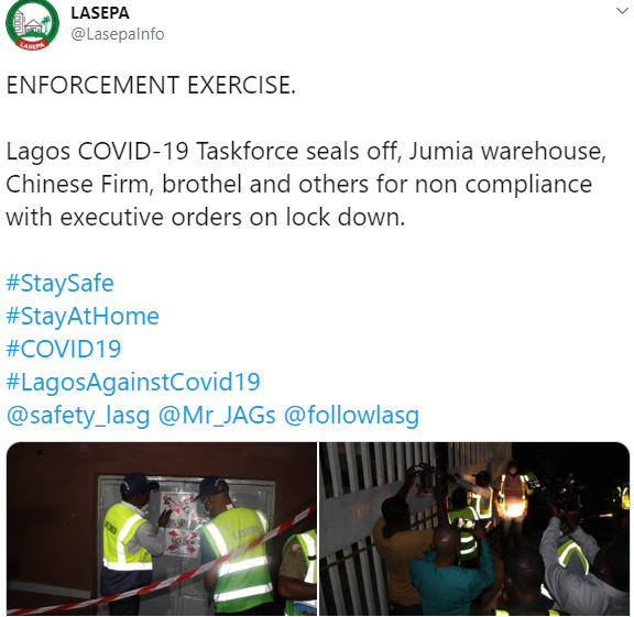 Lagos state government seals Jumia warehouse, Chinese firm, hotel for defying restriction order (photos)