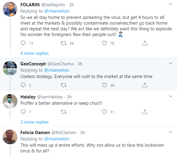 Nigerians react as FG says markets in lockdown states can open between 10am to 2pm every 48 hours