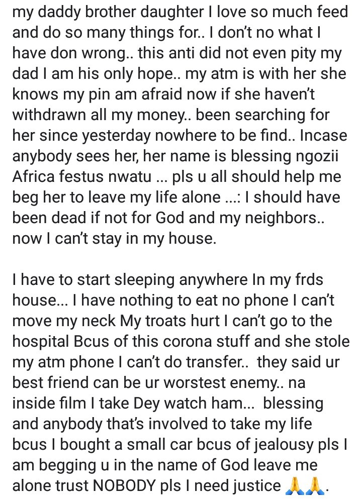 Woman accuses her cousin of trying to kill her out of jealousy in Lagos
