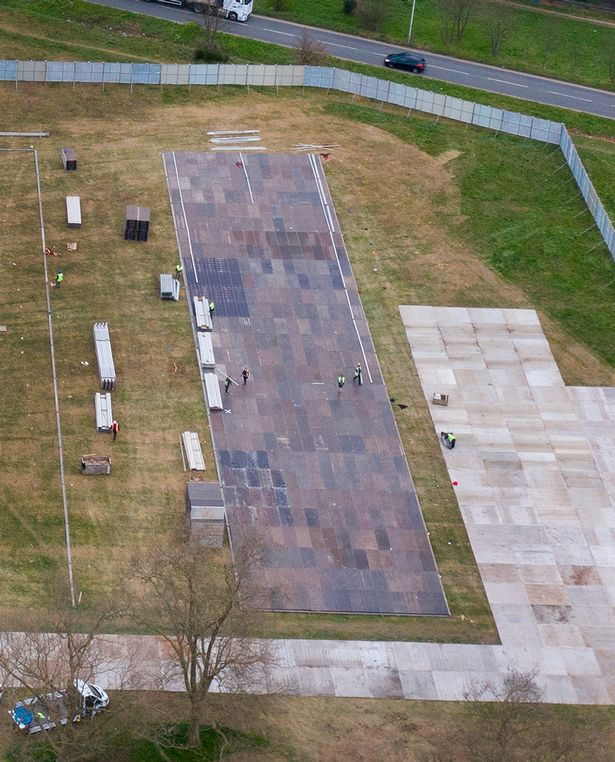 Coronavirus: UK starts building temporary mortuary the size of two football fields as they believe the number of deaths will rise (Photos)
