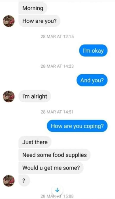 Man releases chats where a woman called him out for sending her only 10K to stock up during Coronavirus lockdown