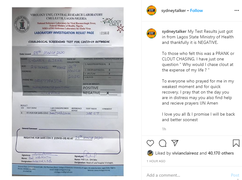 Instagram comedian, Sydney Talker tests negative for Coronavirus after calling out NCDC for refusing to test him