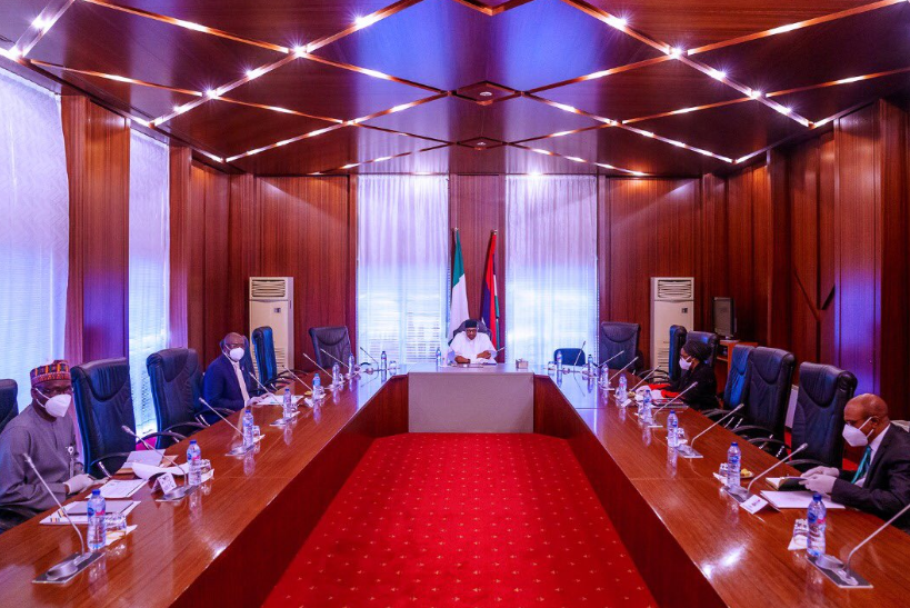 Coronavirus: President Buhari meets with Minister of Finance, Timipre Sylva, others (photos)