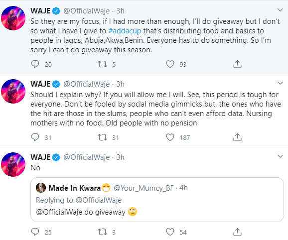 Waje explains why she will not join her colleagues in doing giveaway online during Coronavirus lockdown
