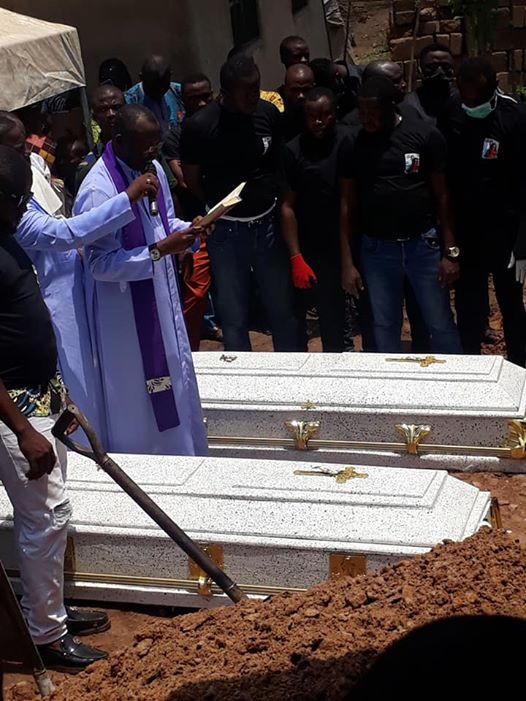 Video/Photos from the burial of couple killed in Abule Ado explosion