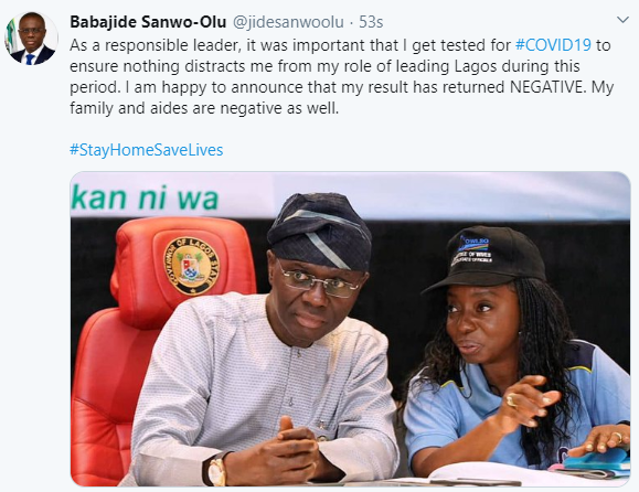Lagos state governor, Babajide Sanwo-Olu, wife test negative for Coronavirus