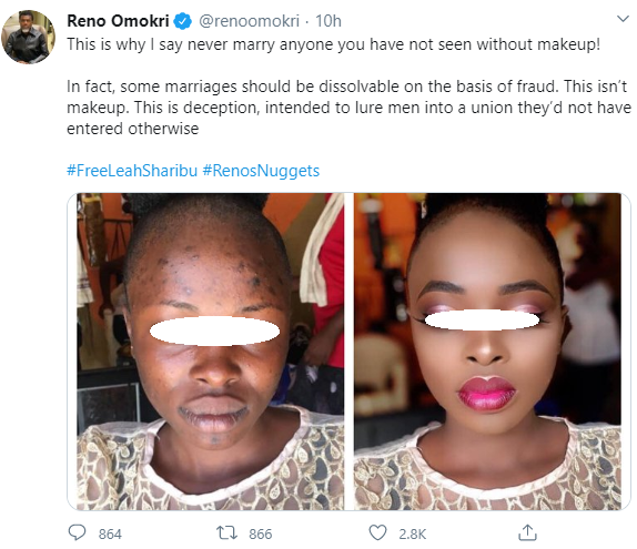 """Never marry anyone you have not seen without makeup"" Reno Omokri warns men as he accuses women who use makeup of ""deception"""