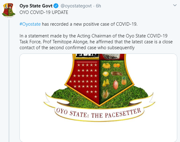 Oyo state confirms another COVID-19 case