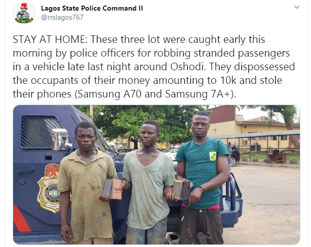 Three arrested for robbing stranded passengers in Lagos amid Coronavirus lockdown