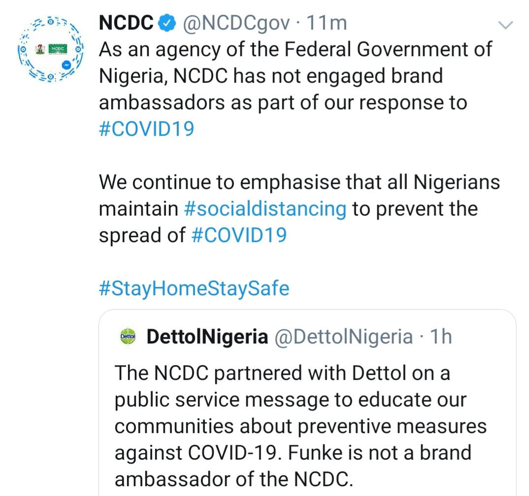 NCDC, Dettol react to Funke Akindele