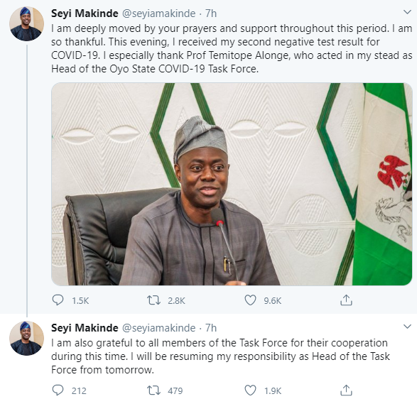 Oyo state governor, Seyi Makinde recovers from Coronavirus