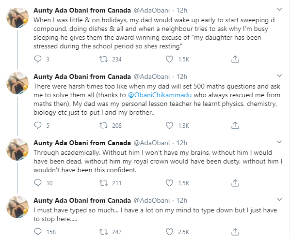 Nigerian lady narrates how her father single-handedly trained her and her siblings after their mother abandoned them