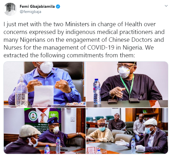 Chinese Doctors and Nurses arriving Nigeria will have no physical contact with Coronavirus patients - Speaker, Femi Gbajabiamila