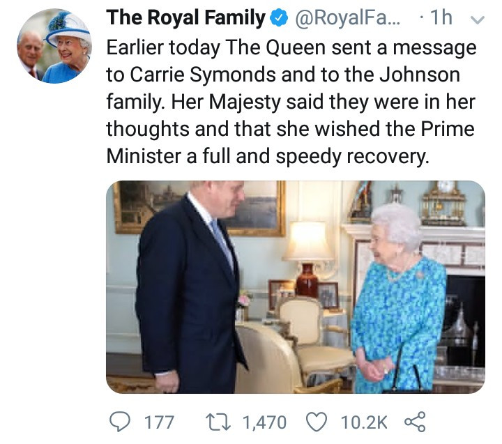 Prince William and Kate Middleton send well wishes to Boris Johnson as he