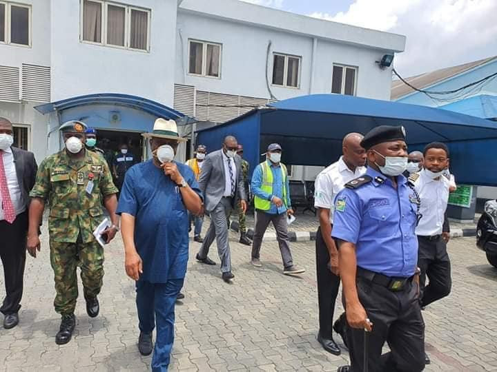 Governor Wike leads security operatives to operational base of  Caverton Helicopters, demands interrogation of pilots for flying people into Rivers state