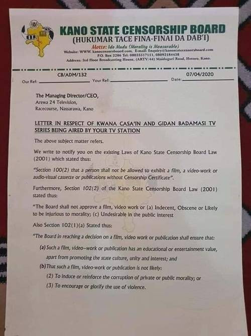 Kano State Govt bans TV station from airing two popular Hausa series, says episode which shows a lady being held by men is against its norms and culture