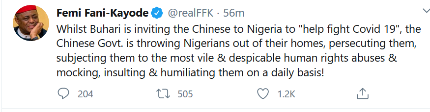 While Buhari is inviting Chinese to Nigeria, Chinese govt is throwing Nigerians out of their homes - FFK
