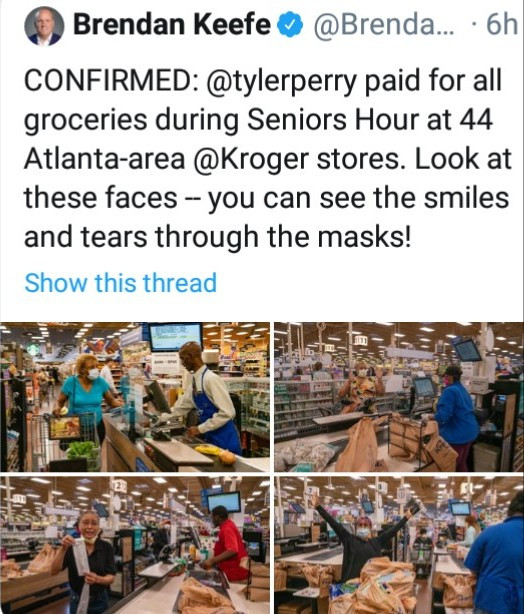 Tyler Perry pays for groceries of elderly people at dozens of stores and asks to be kept anonymous