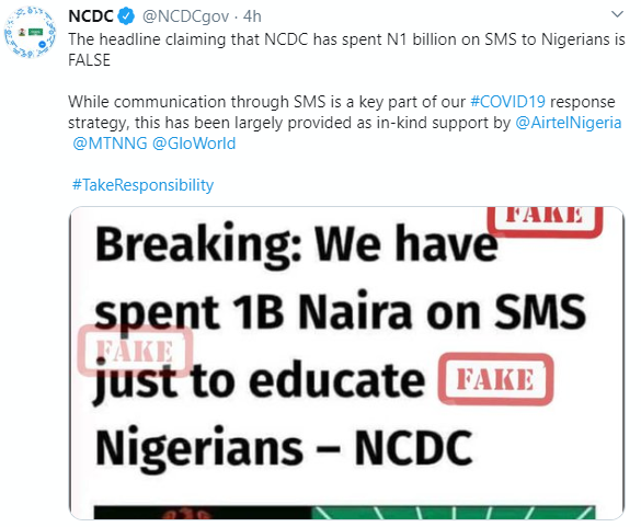 NCDC denies reports of spending N1bn to send SMS to Nigerians