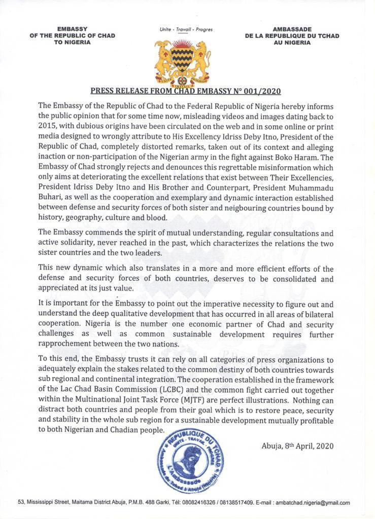 Chad Embassy writes Nigeria over fake videos on Boko Haram war