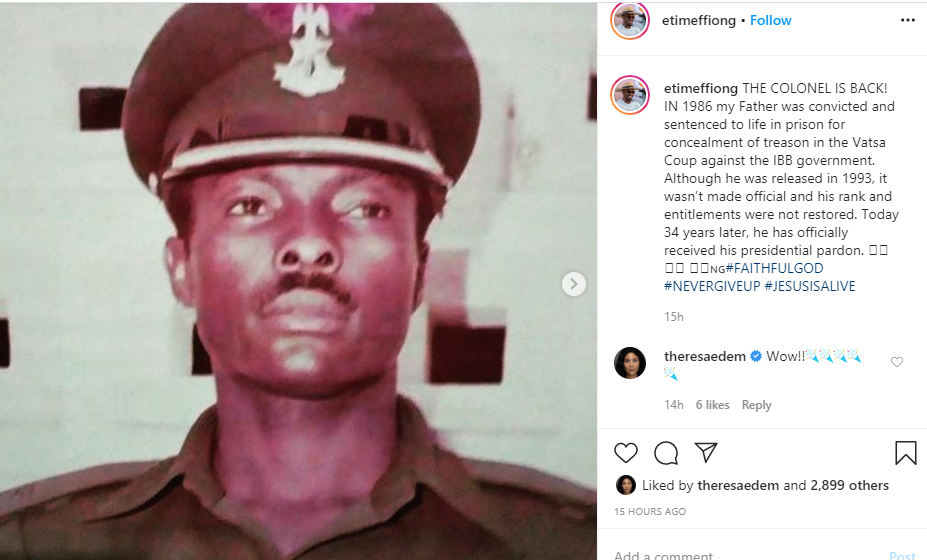 Actor Etim Effiong shares excitement after his father, Ex Lt. Col. Moses Effiong received a presidential pardon after 34 years
