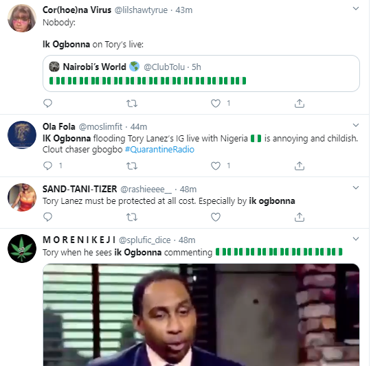 Juliet Ibrahim and IK Ogbonna dragged mercilessly on Twitter for their comments on Tony Larez