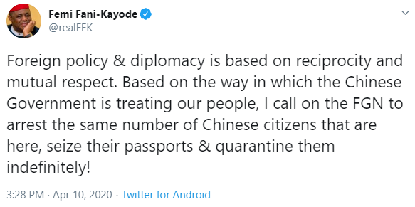 Maltreatment: If it was Abacha, many Chinese nationals would have been deported by now- FFK