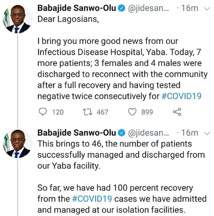 Seven more COVID-19 patients discharged in Lagos