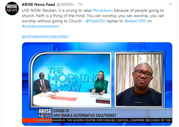 It?s wrong to relax lockdown for religious reasons - Peter Obi
