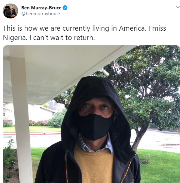 I miss Nigeria- Ben Bruce says as he reveals how he protects himself in America due to COVID-19 pandemic (photo)