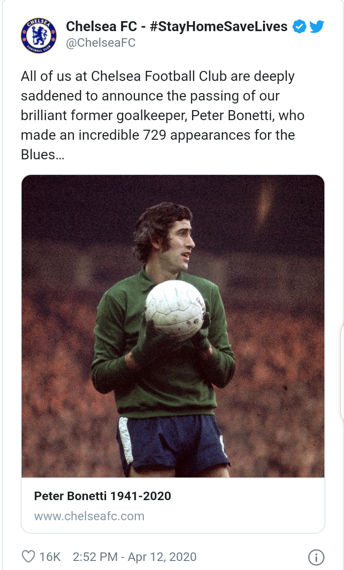Legendary Chelsea goalkeeper Peter Bonetti passes away at the age of 78