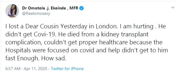 The health system in UK failed my cousin who died amid the Coronavirus pandemic - Omotola Jalade-Ekeinde