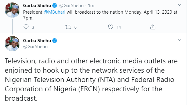 Lockdown: President Buhari to address Nigerians by 7pm today