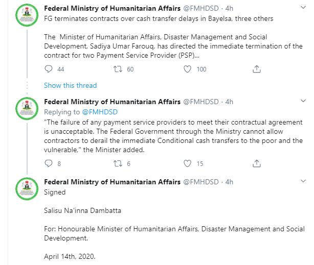 Coronavirus: FG sacks contractors over delay in disbursing cash to poor households