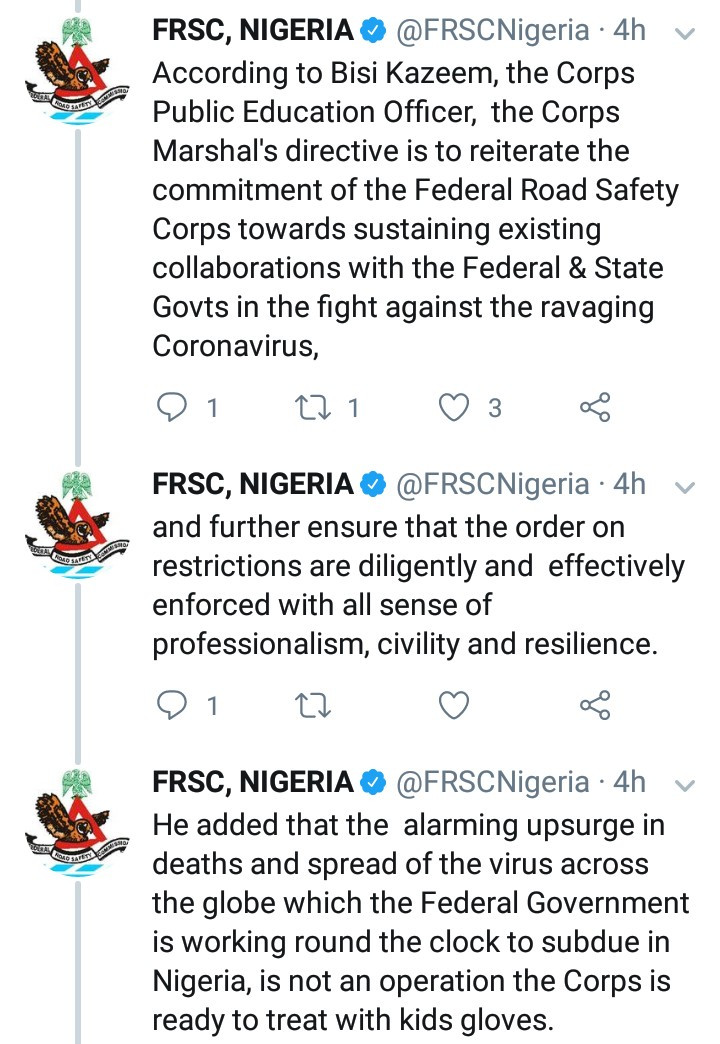 FRSC directs its officers to impound vehicles violating the lockdown order