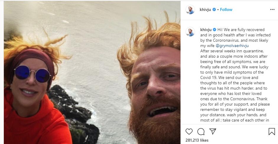 Update: ?Game of Thrones? star, Kristofer Hivju and wife recover from Coronavirus