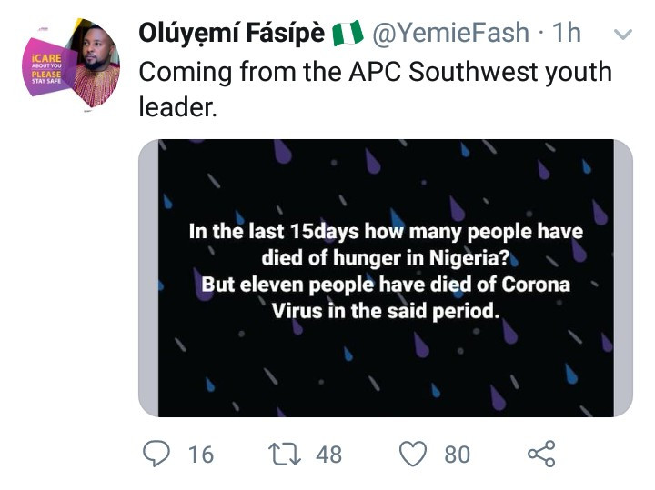 """""""11 have died of Coronavirus. How many have died of hunger?"""" APC Southwest youth leader tells those complaining of hunger amid lockdown"""