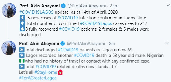 63-year-old man with no travel history or contact with any confirmed case dies of #COVID-19 in Lagos