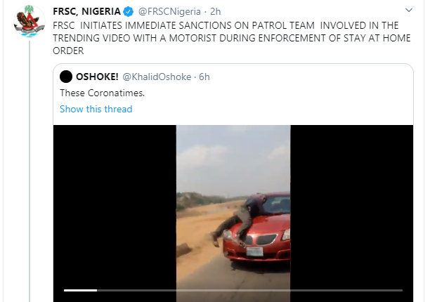 FRSC reacts to viral video of lady who was almost assaulted by one of its officials for speeding off with policeman on her car