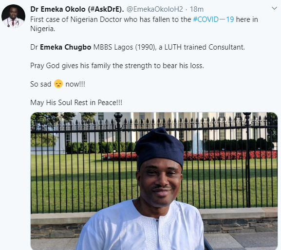 Nigerian doctor exposed to a COVID-19 patient, dies in Lagos