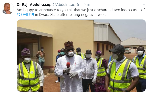 Kwara state discharges 2 #COVID19 patients