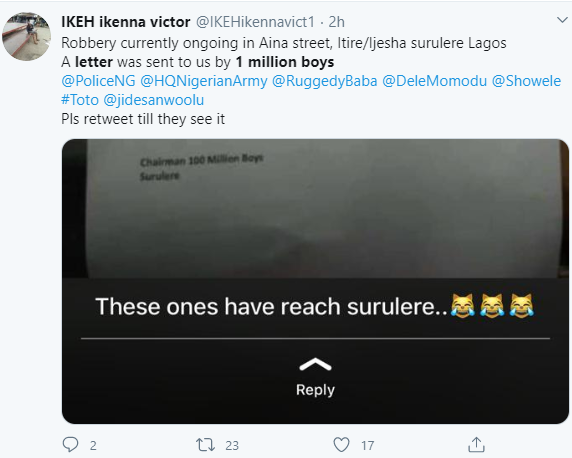 """Fear grips Surulere residents as robbery gang """"1 Million boys"""" sends letter to inform them that they are coming to their neighbourhood"""