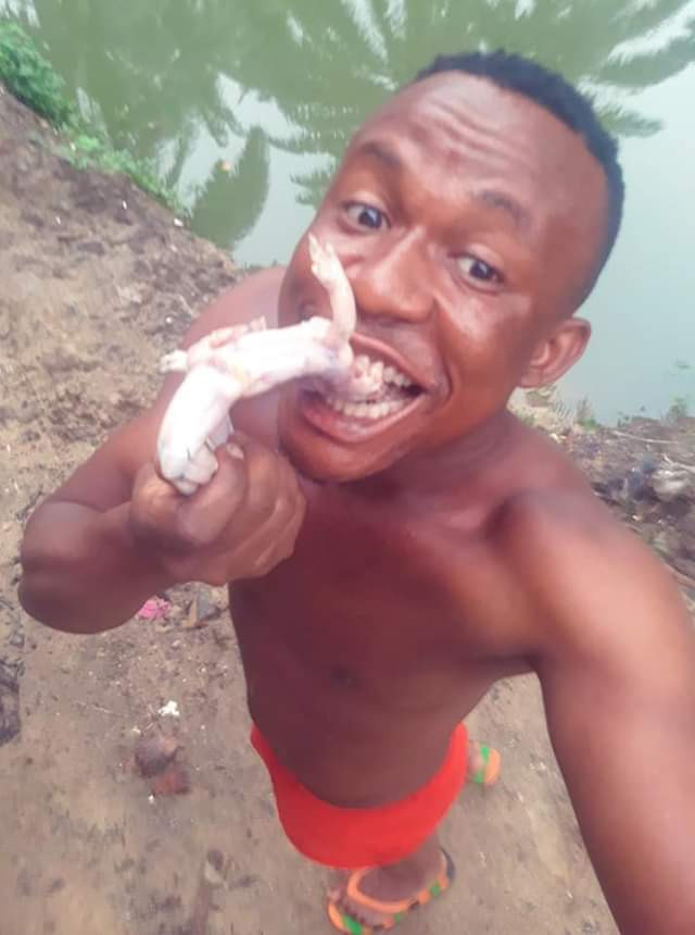 Nigerian man makes stew with Frog meat (photos)