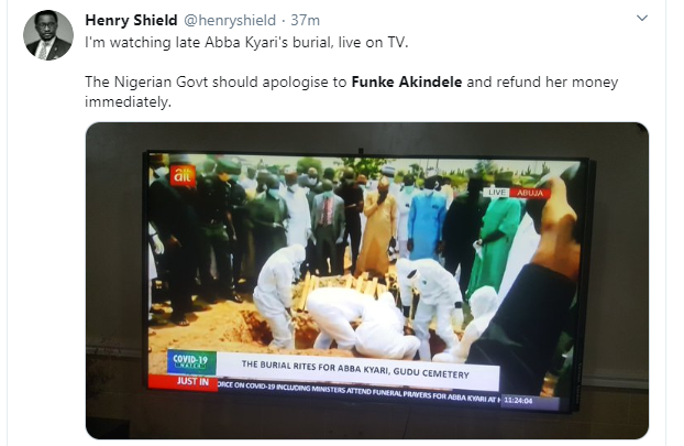 Why Funke Akindele trended on twitter during the burial of President Buhari