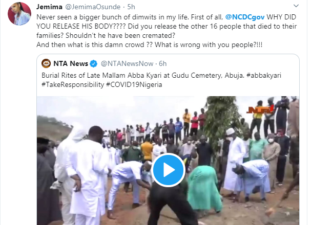 Actress Jemima Osunde calls out NCDC for releasing Abba Kyari