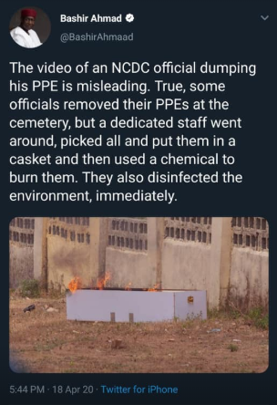 NCDC official seen removing his PPE with bare hands after burial ceremony of Abba Kyari (video)