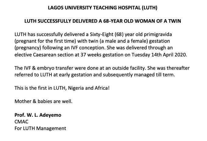 68-year-old woman welcomes twins in Lagos