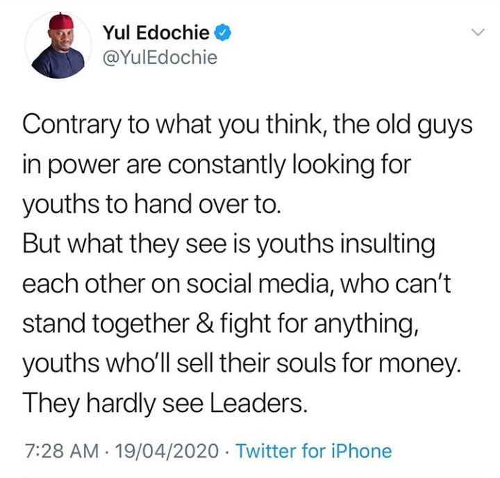 Yul Edochie courts controversy as he says